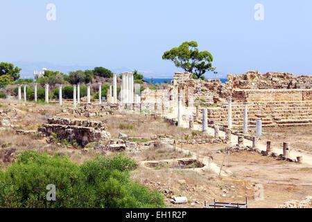 Ruins of Salamis, Famagusta aeria, North Cyprus - Stock Photo