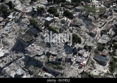 Aerial views of the damage the earthquake caused to downtown Port Au Prince, Haiti, 22 January, 2010. - Stock Photo