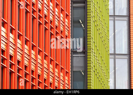 Colourful terracotta panels on the facade of Central St Giles, WC2, London, England. Completed in 2010. - Stock Photo