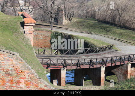 Old wooden bridge on the Petrovaradin fortress in Serbia - Stock Photo
