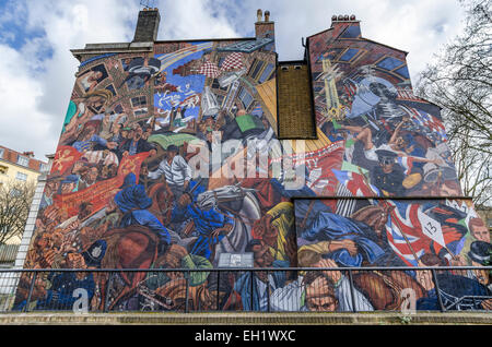 The Battle of Cable Street is a mural in Shadwell east London depicting the fight against fascism - Stock Photo