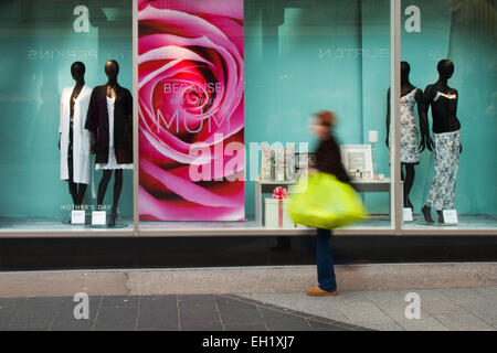 Liverpool, Merseyside, UK. 5th March, 2015. M&S Mother's Day promotion, 'Because she's your MUM', in Liverpool One. - Stock Photo