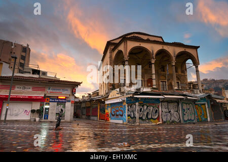 Monastiraki square early in the morning, Athens, Greece. - Stock Photo