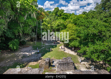 View from Mask Temple at Lamanai, Maya ruins, rainforest near Indian Church village, Orange Walk District, Belize - Stock Photo