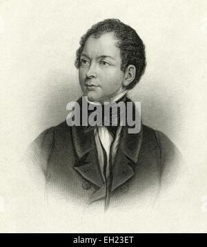 Antique c1885 steel engraving, Thomas Moore. Thomas Moore (28 May 1779 - 25 February 1852) was an Irish poet, singer, - Stock Photo
