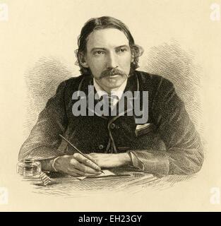 Antique circa 1910 engraving of Robert Louis Stevenson by Samuel Hollyer. Robert Louis Balfour Stevenson (13 November - Stock Photo