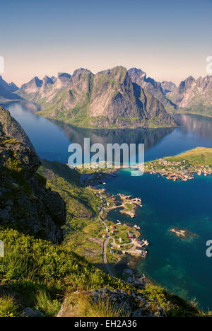 Amazing view of town Reine and surrounding fjords on Lofoten islands - Stock Photo