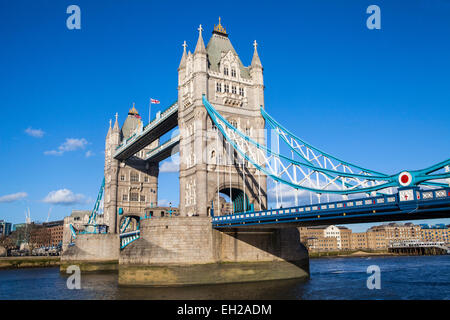 The beautiful Tower Bridge under a clear blue sky in London. - Stock Photo
