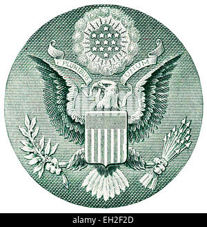 Coat of arms with an American eagle from 1 dollar banknote, USA, 2009 - Stock Photo