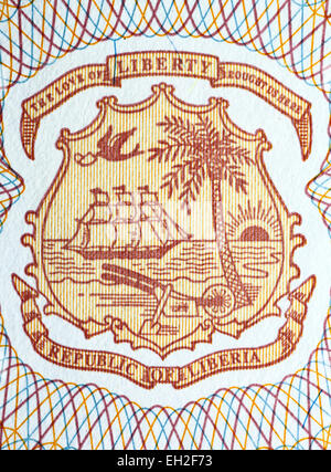 Coat of arms of Liberia from 5 dollars banknote, Liberia, 2009 - Stock Photo
