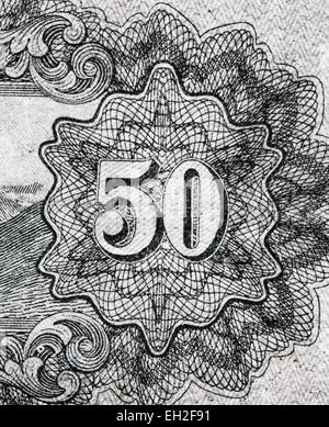 50 numeral from 50 sen banknote, Japan, 1943 - Stock Photo