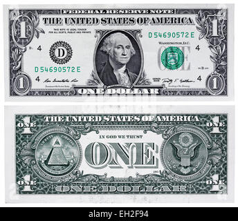 1 dollar banknote, president George Washington, USA, 2009 - Stock Photo