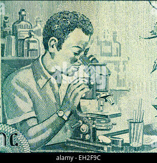 Man with a microscope in a laboratory from 100 birr banknote, Ethiopia, 2012 - Stock Photo