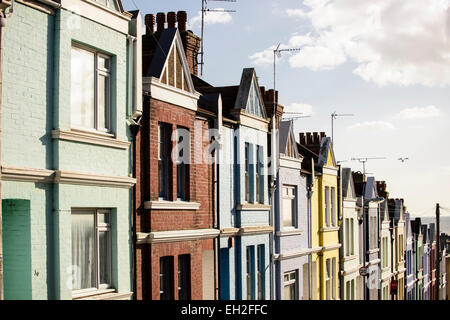 Row of terraced houses in Brighton - Stock Photo