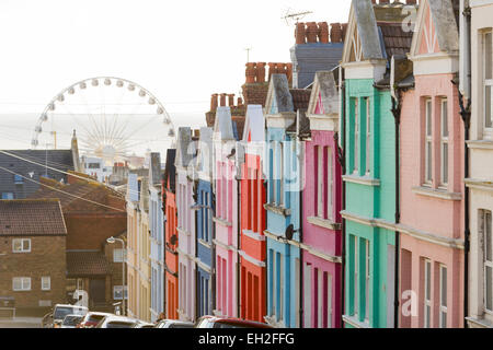 Row of colourful painted terraced houses in Brighton, East Sussex, England, UK. - Stock Photo