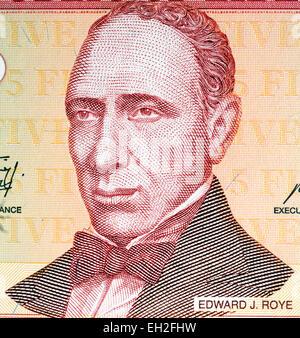 Edward J. Roye from 5 dollars banknote, Liberia, 2009 - Stock Photo