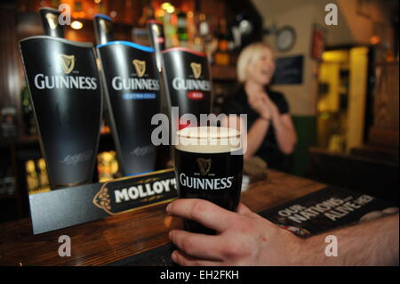 Pint of Guinness is pulled in a local pub, Lancashire. - Stock Photo