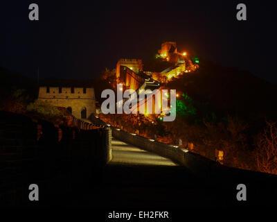 Great wall of china Badaling illuminated at night exposed longterm - Stock Photo