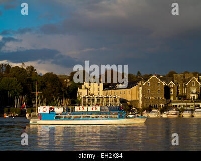 Pleasure boat Miss Cumbria IV arriving at Bowness-on-Windermere in Lake District National Park Cumbria Engalnd UK - Stock Photo