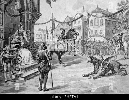 Drachenstich traditional folk play in Furth im Wald, Bavaria, Germany, historical illustration circa 1893 - Stock Photo