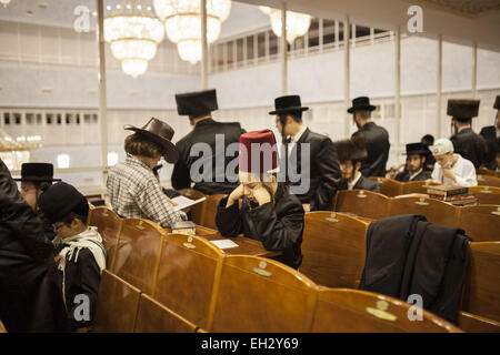 Jerusalem, Israel. 5th Mar, 2015. Ultra Orthodox Jews from the Belz Hasidic group are reading from the Book of Esther, - Stock Photo