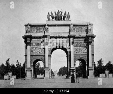 One of the first halftones, Arc de Triomphe in Paris, France, 1880 - Stock Photo