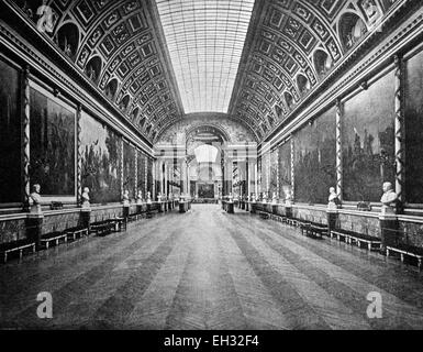 One of the first autotypes of the Galerie des Batailles in the Palace of Versailles, France, historical photograph, - Stock Photo