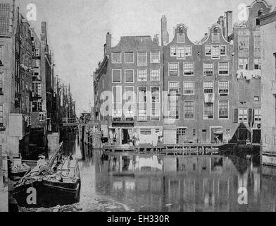 Early autotype of Amsterdam, North Holland, Netherlands, historical picture, 1884 - Stock Photo