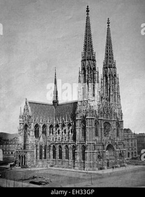 Early autotype the Votive Church, Vienna, Austria, historical photographs, 1884 - Stock Photo
