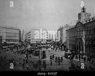 Early autotype of the Puerta del Sol square, Madrid, Spain, historical picture, 1884 - Stock Photo