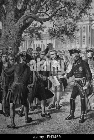 Historical engraving, Frederick the Great, Frederick II, 1712-1786, underneath the petition lime tree in Potsdam, - Stock Photo