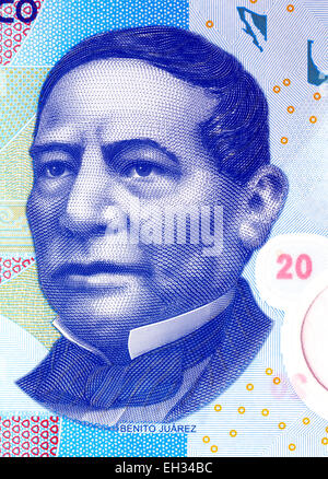 President Don Benito Juarez Garcia from 20 pesos banknote, Mexico, 2008 - Stock Photo