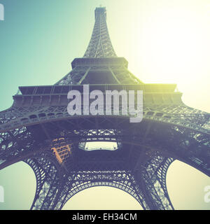 Eiffel Tower in Paris, France. Retro style filtred image - Stock Photo
