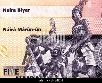 Nkpokiti Drummers from 5 naira banknote, Nigeria, 2006 - Stock Photo