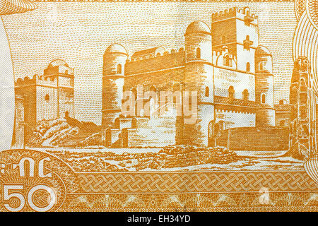 Fasilides Castle in Gondar from 50 birr banknote, Ethiopia, 2012 - Stock Photo