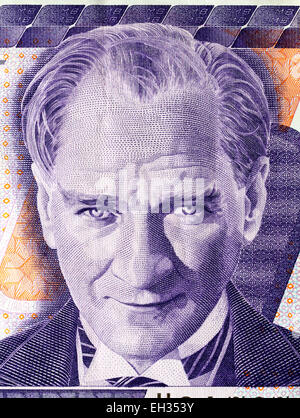 President Kemal Ataturk from 500000 lira banknote, Turkey, 1997 - Stock Photo