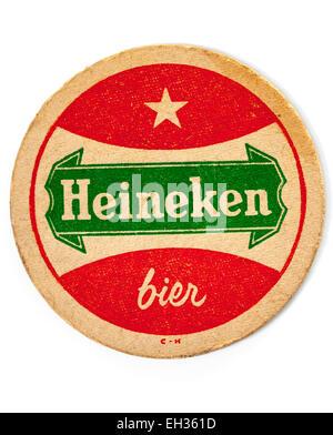 Vintage Beermat Advertising Heineken Beer - Stock Photo