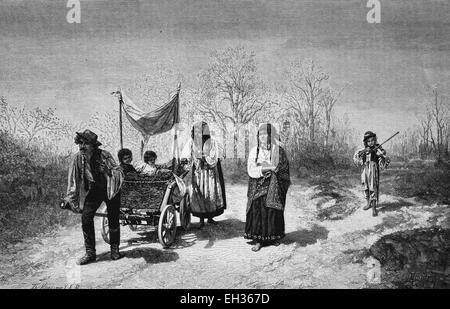 Gypsy travellers, wood engraving, 1880 - Stock Photo