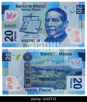 20 pesos banknote, president Don Benito Juarez Garcia, Mexico, 2008 - Stock Photo