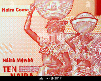 Fulani women carrying bowls on their heads from 10 naira banknote, Nigeria, 2006 - Stock Photo