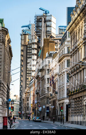 Views down Cornhill to the Lloyd's Building, home to the insurance institution Lloyd's of London in the City of - Stock Photo