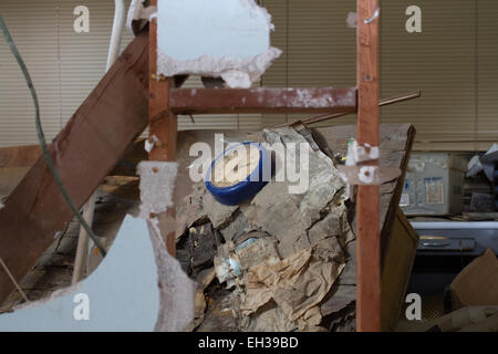 Close up of interior of official building in Salton Sea abandoned resort California USA - Stock Photo