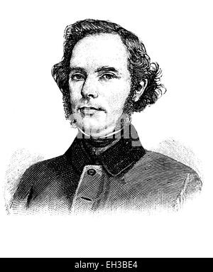Theodor Reh, 1801 - 1868, a German politician, wood engraving, about 1880 - Stock Photo