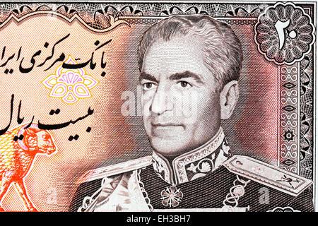 Mohammad Reza Shah Pahlavi from 20 rials banknote, Iran, 1974 - Stock Photo