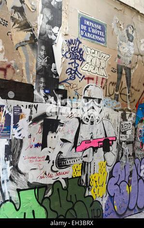 A Star Wars storm trooper painted on the wall of the Impasse de l'Hôtel d'Argenson in the Marais quarter of Paris, - Stock Photo
