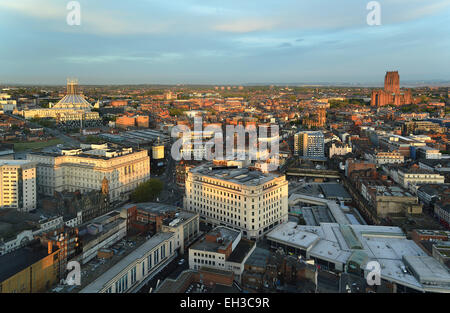 Aerial view of Liverpool showing the two cathedrals in the background. In the centre is the former Lewis's department - Stock Photo