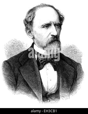 Adolph Lothar Bucher, a Prussian officer, journalist and politician, 1817 - 1892, historical woodcut, circa 1870 - Stock Photo