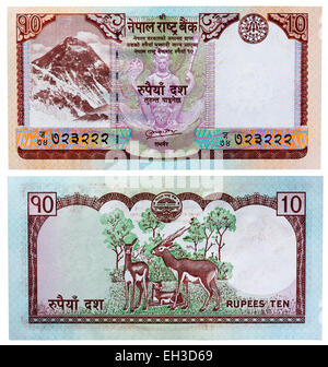 10 rupees banknote, Mount Everest and antelopes, Nepal, 2008 - Stock Photo