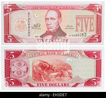 5 dollars banknote, Edward J. Roye, Liberia, 2009 - Stock Photo