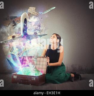 Suitcase full of memories - Stock Photo